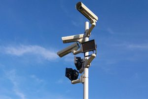 image of CCTV camera installed high